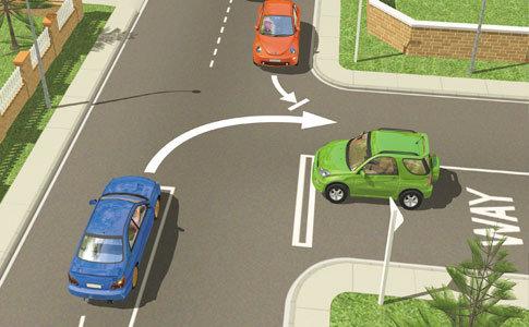 Nový Zéland - pravidla silničního provozu (modré auto má přednost před červeným)